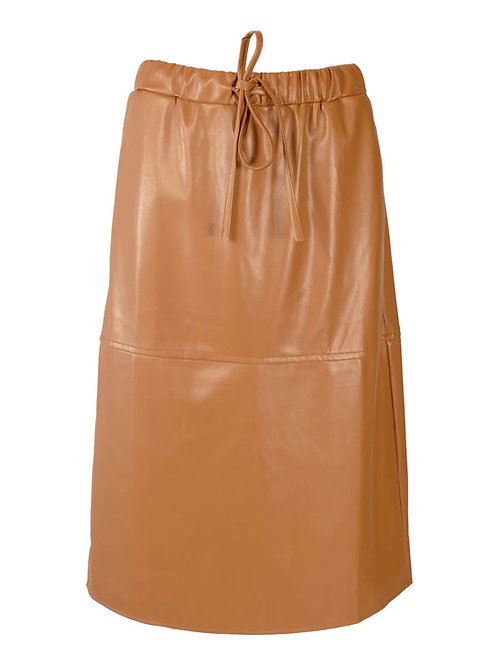 Rebelz leatherlook rok cognac