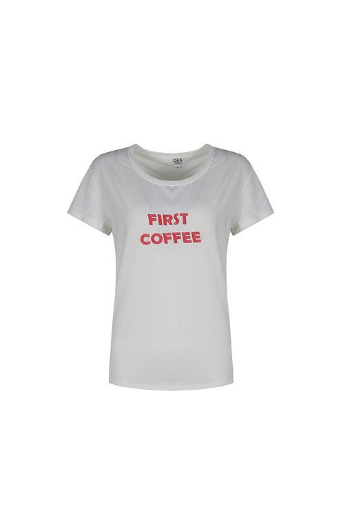 C&S T-shirt Maja wit met rode tekst