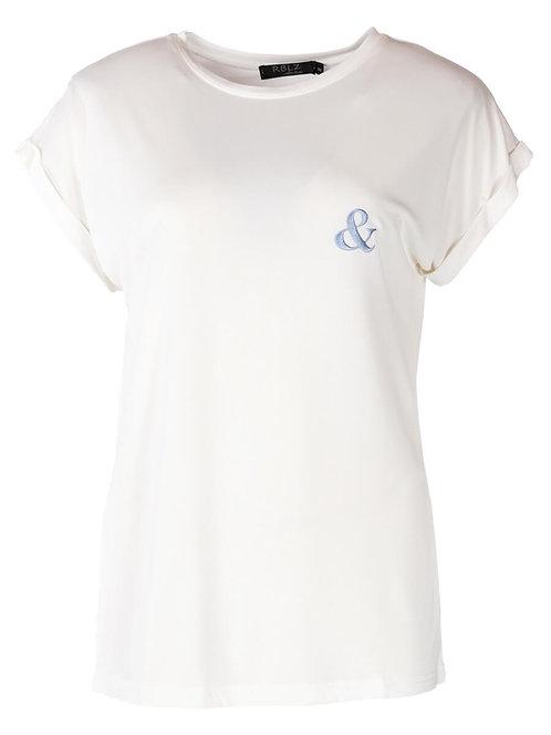 Rebelz T-shirt Fenna wit met blauw