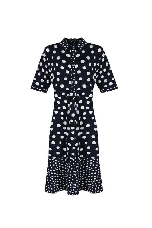 Exxcellent jurk Madison blauw met witte stippen