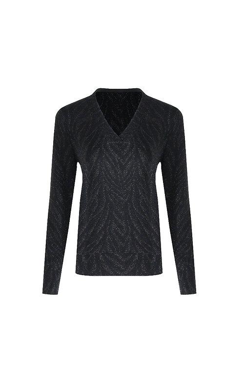 G-maxx shirt zwart met zilveren zebraprint