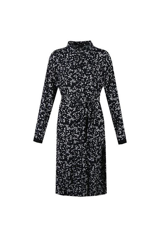 Exxcellent jurk zwart met witte bloemenprint