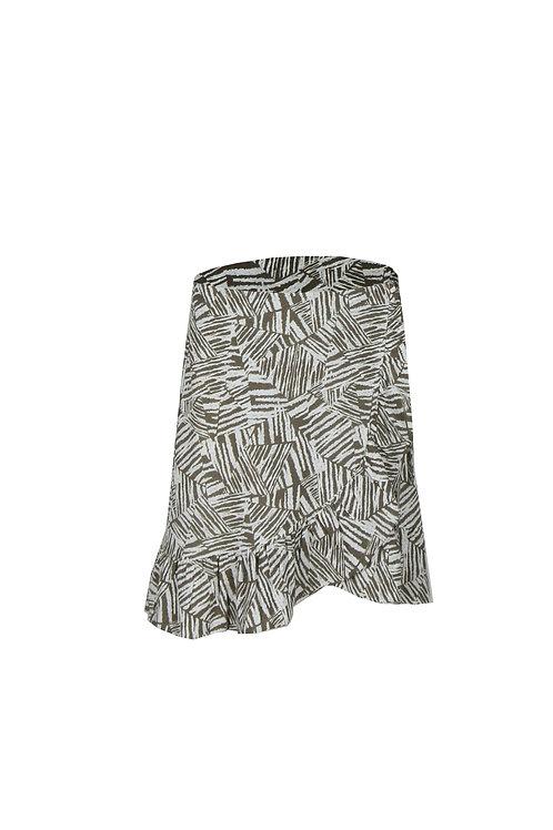 C&S rok Marrit wit met lichtbruine print