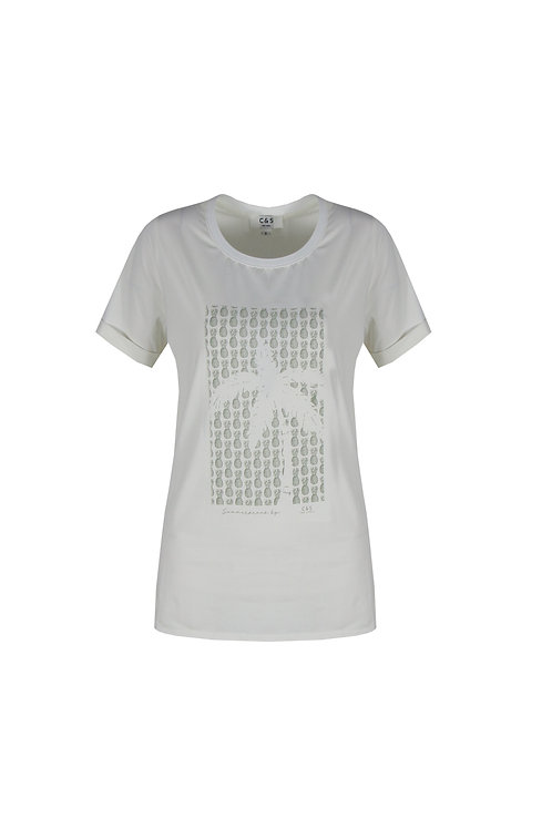 C&S T-shirt Marianne roomwit met print