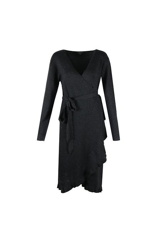 Exxcellent overslag jurk zwart met glitters