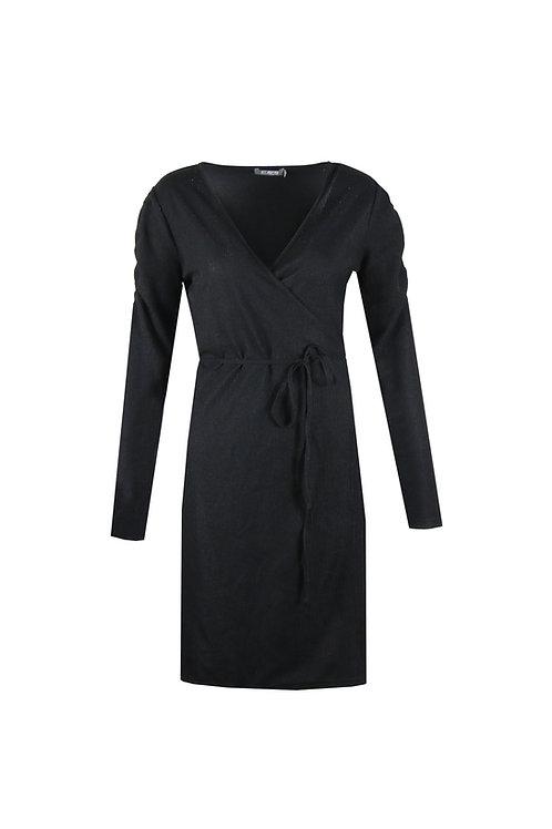 C&S jurk zwart geribd en met glitter