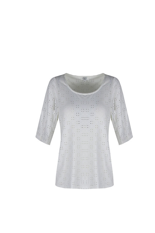 C&S blouse Indra roomwit met broderie