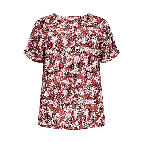 ONLY Carmakoma top BANDI rood met witte print