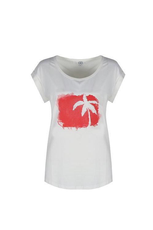 C&S T-shirt Maira met rode palmboom