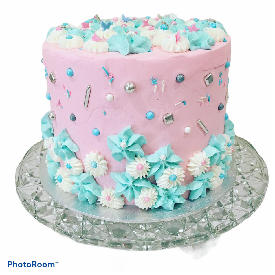 Pink and Blue Buttercream Cake
