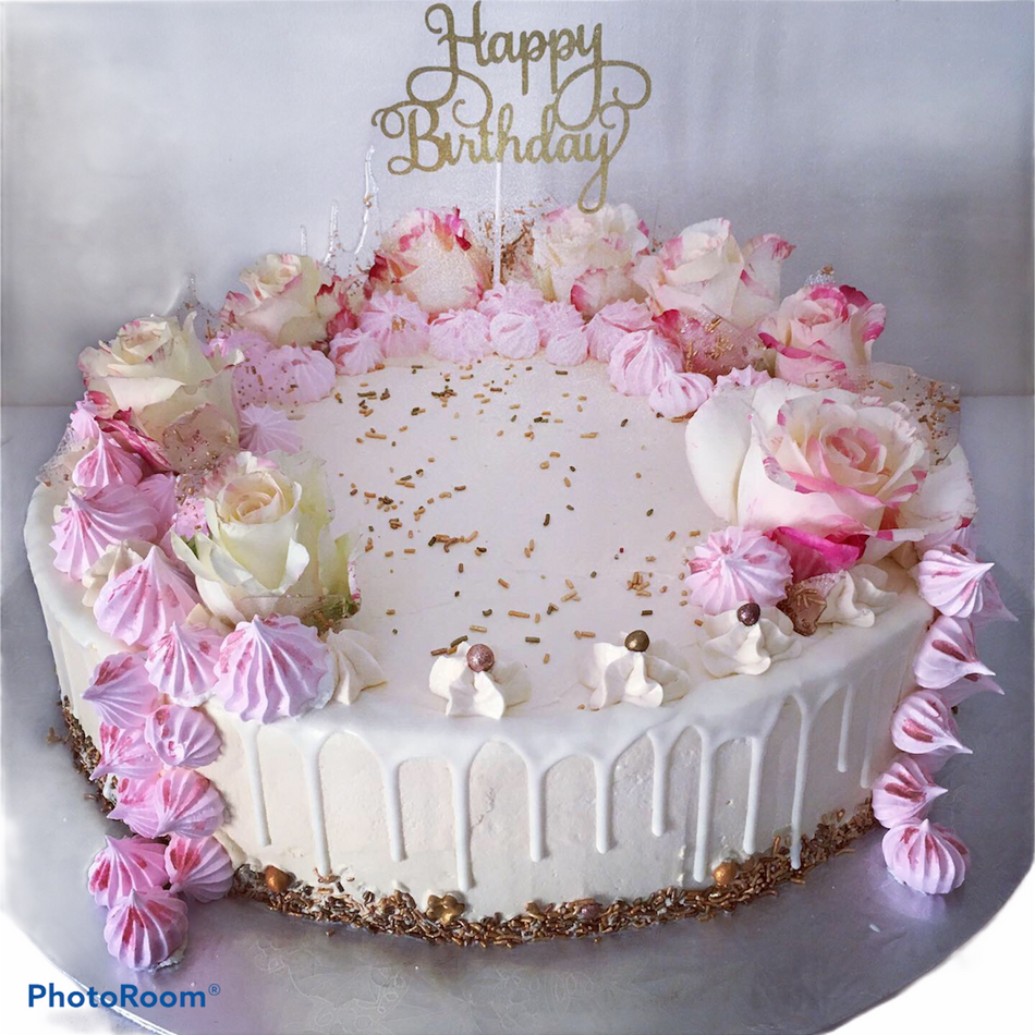 Pink Roses Celebration Cake