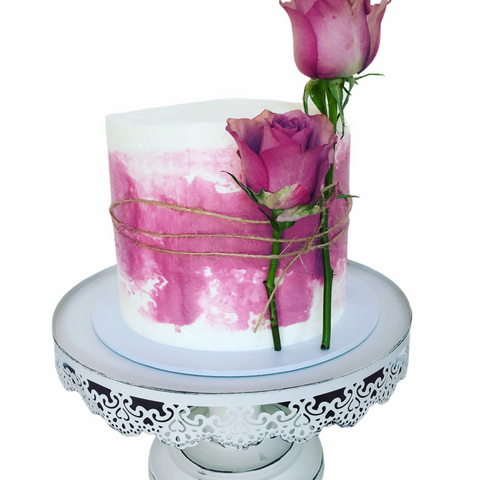 Pink Roses Celebration Cake with twine