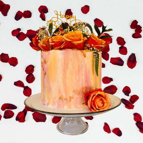 Fresh flower cake with painted effect