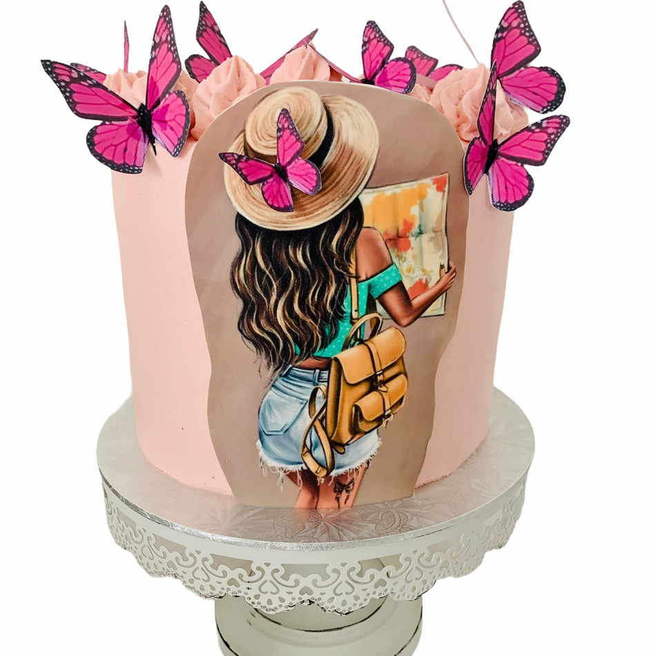 Girl & Butterfly Cake with colourfull cutouts