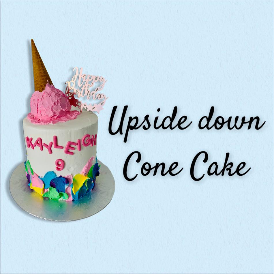 Upside Down Cone Cake