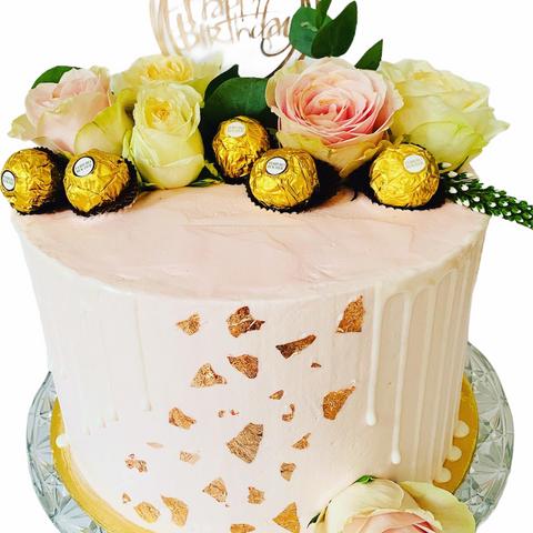 Flower and Chocolate Birthday Cake