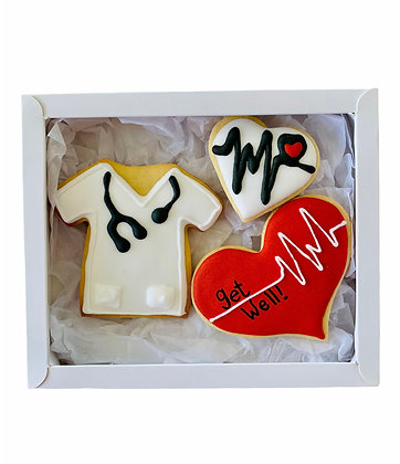 White Heartbeat Get Well Soon Gift Box
