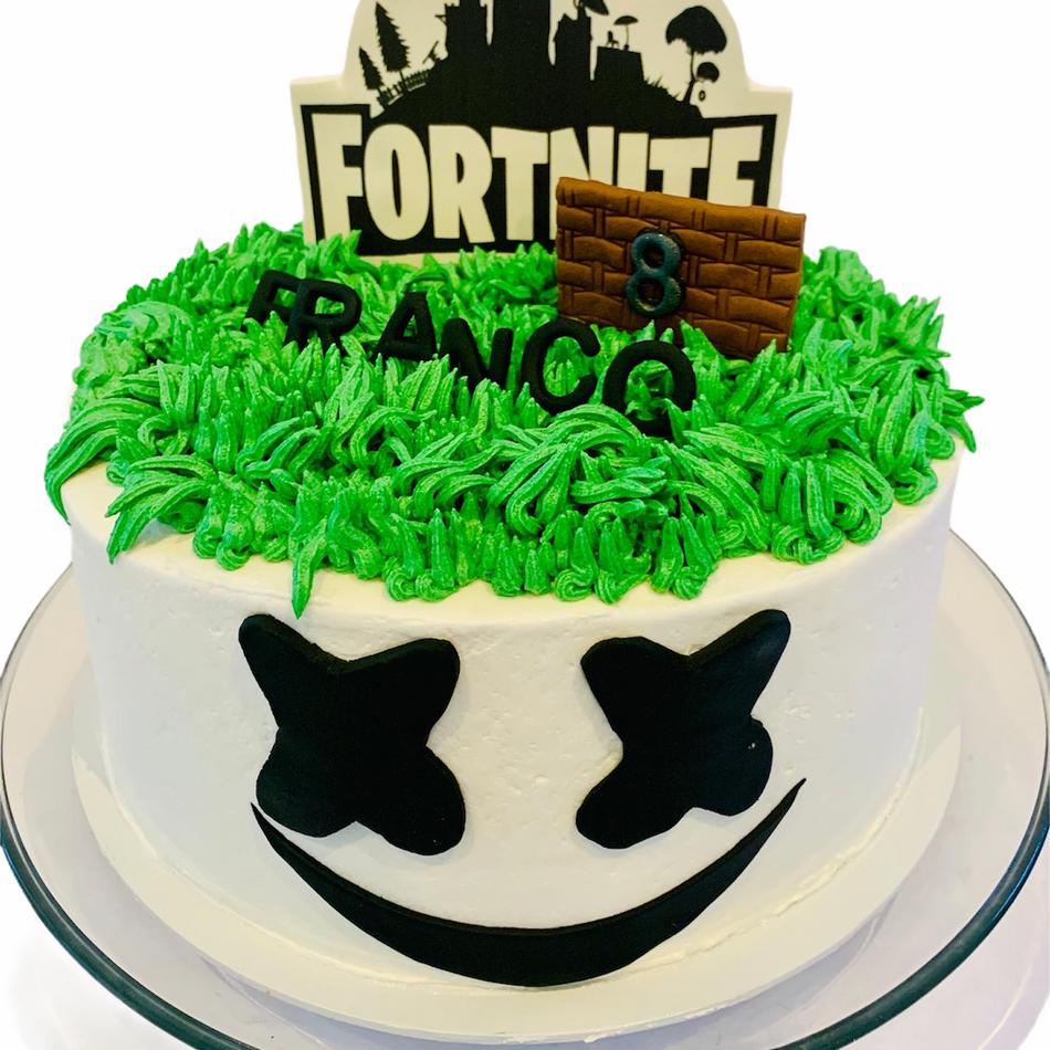 Fortnite with Marshmallow Birthday Cake