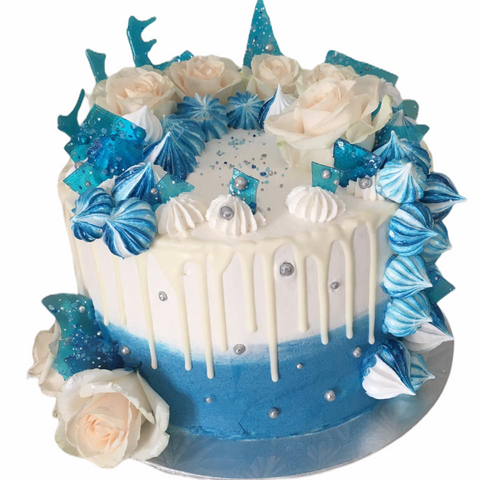 Blue and White Rose Cake