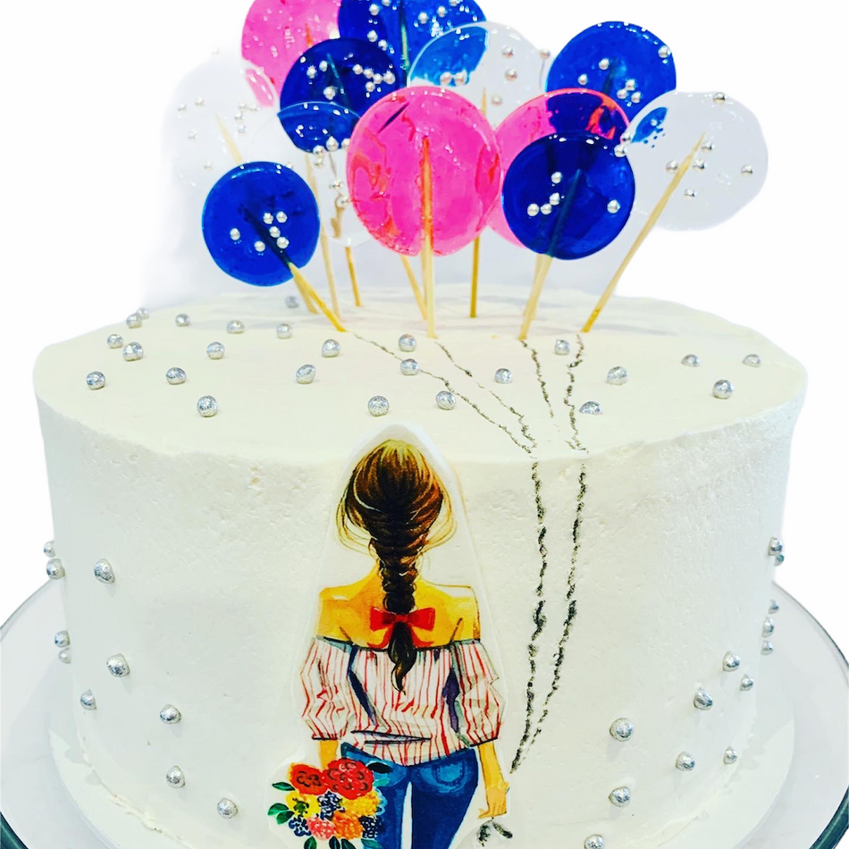 Girl with Balloons Cake