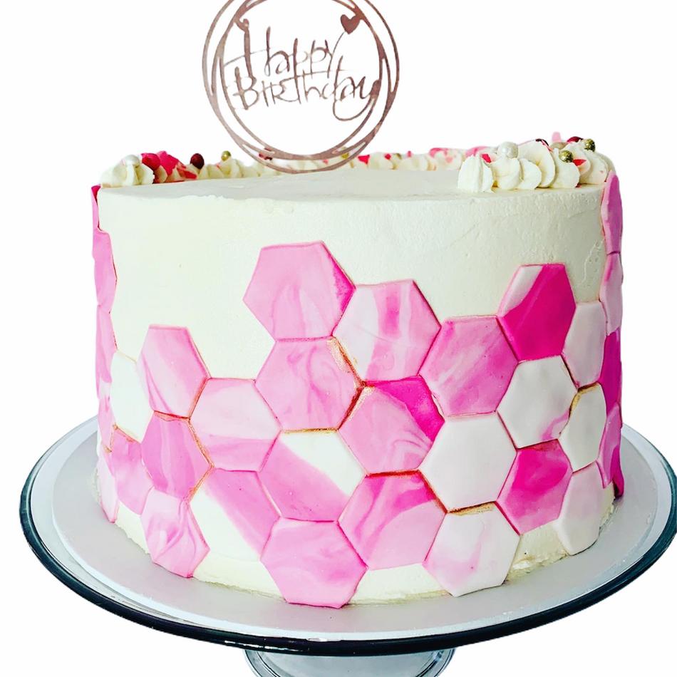 Pink Geometric Birthday Cake