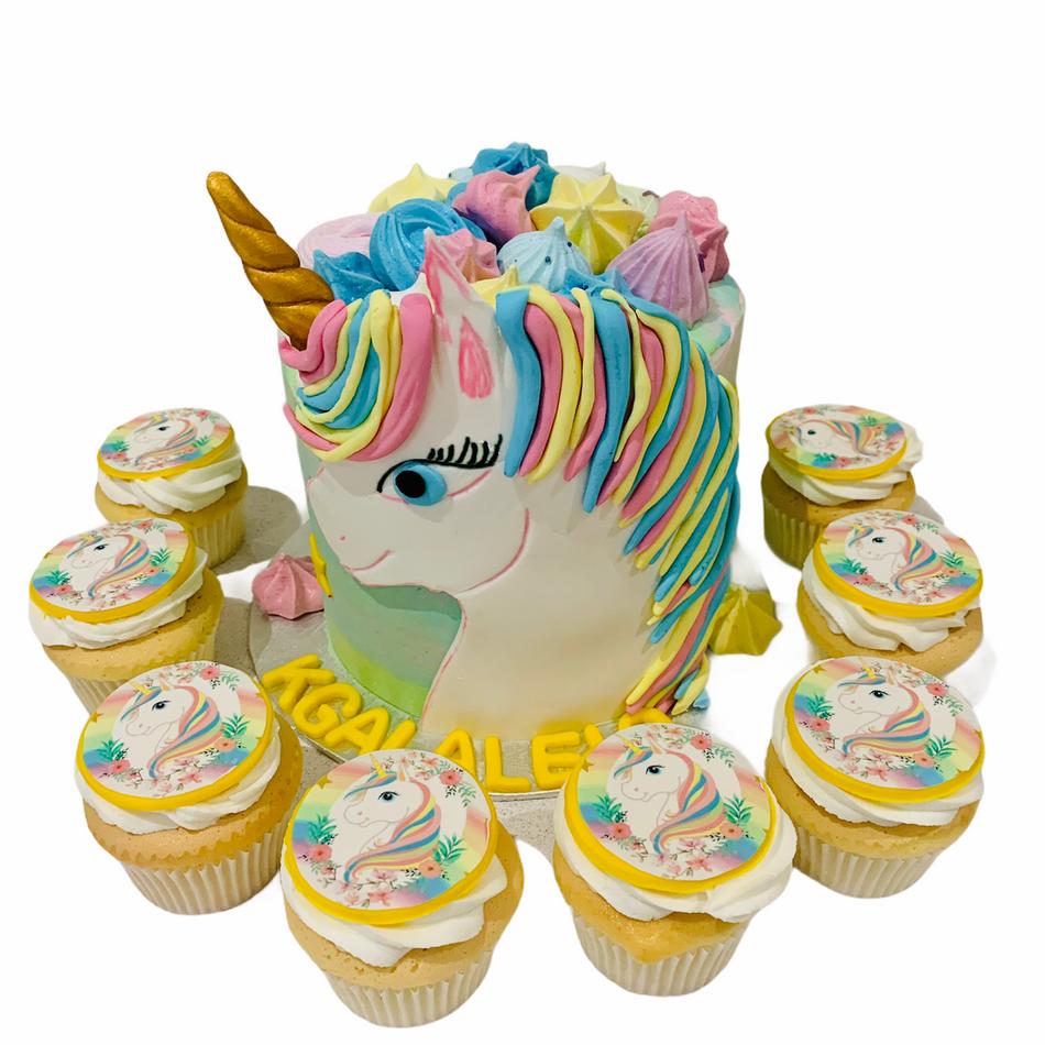 Unicorn Birthday Cake and Cupcake set for a magic event