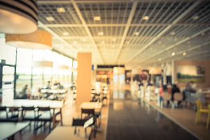 Blurred image large cafeteria, canteen,