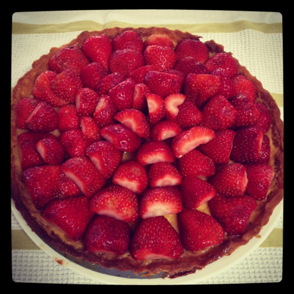white choc strawberry tart