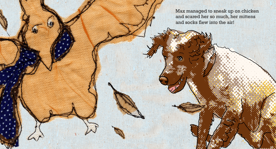 """Double page spread from my childrens's book """"Maxwell wants your clothes!"""""""