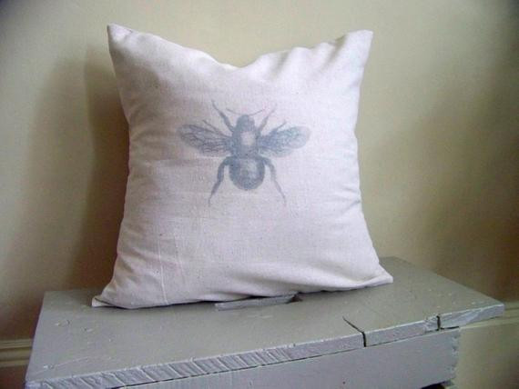 antique Mr. Bee pillow cover - vintage style - gray - home decor - linen