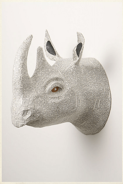 Savannah Story Bust has created these very cool papier mache animal heads as wall decor for a child's play room or living room area.<br /><br /><br /><br /><br /> — $68 each<br /><br /><br /><br /><br /> For further info check out:http://www.anthropologie.com/anthro/product/home-wall/970121.jsp