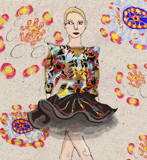 An illustration from the Bunmi Koko A/W 2011 show for Amelia's Magazine