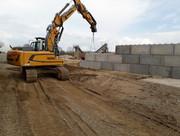 Pose de murs en blocs béton