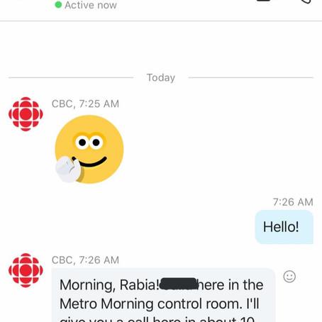 CBC Metro Morning Radio Show Interview Reflection