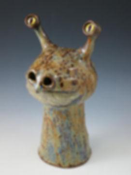 slug eyed handmade clay incense burner