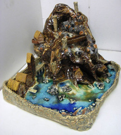 Glazed and finished fountain
