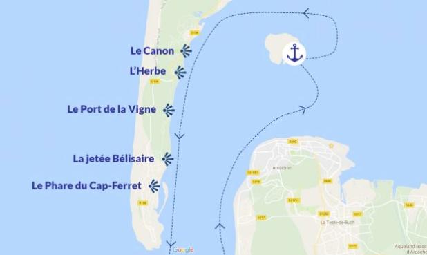 Le canon, l'Herbe, Le port de la vigne, la jetée de bélisaire, le phare du Cap Ferret. Louez votre bateau au Cap Ferret