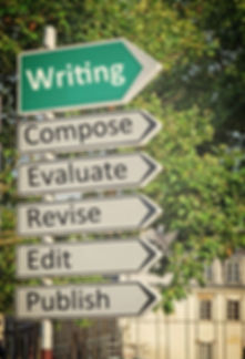 A concept road sign pointing in the direction of 'Writing' with some descriptive words underneath_ed