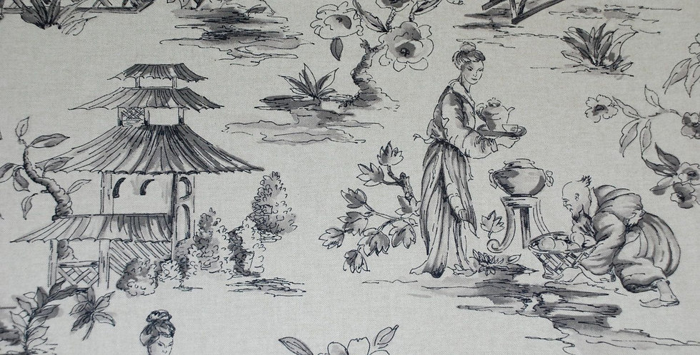 Gray Oriental Toile - Asian Toile