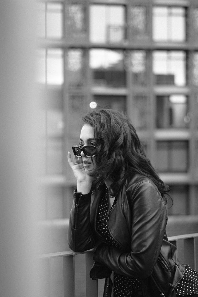 Samia from Stranger Agency wearing Kurt Sunglasses by Bailey Nelson.