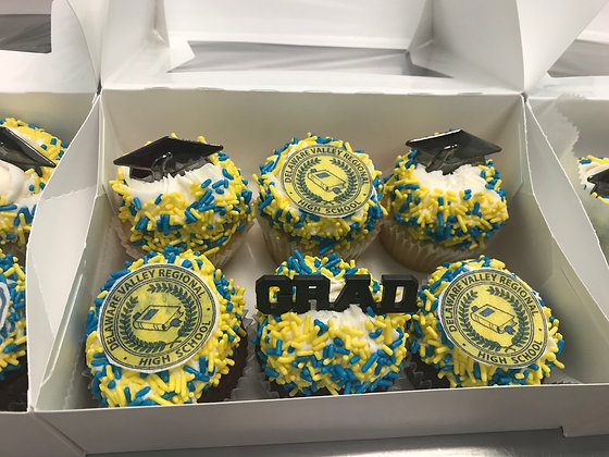 Graduation Cupcake Box please specify pick up date and school at checkout