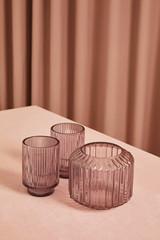 Vasen/Teelichtgläser lila-grau