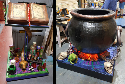 Spell book stand and cauldron for Snow White