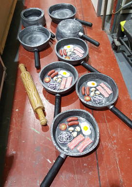 Foam frying pans for slapstick comedy routines