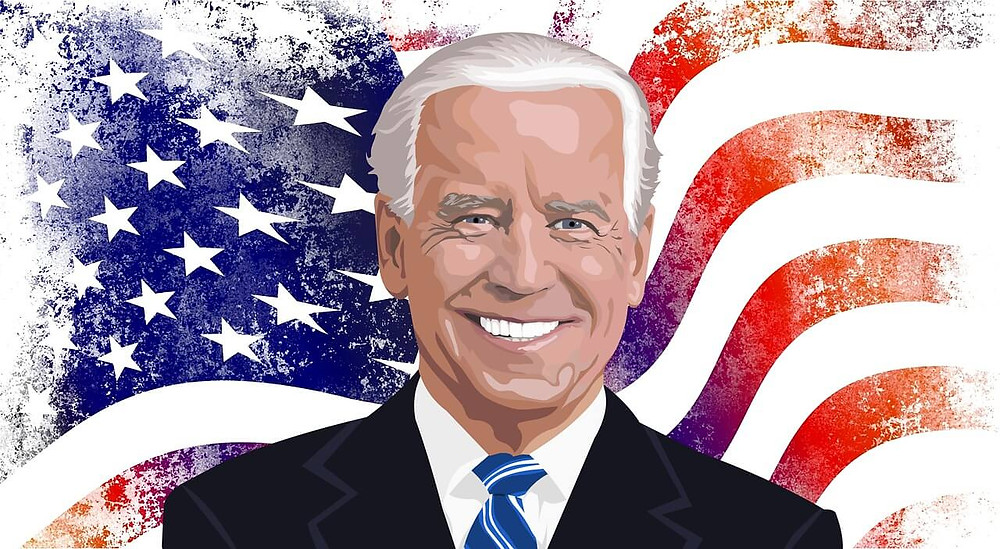 Biden with America's flag as background
