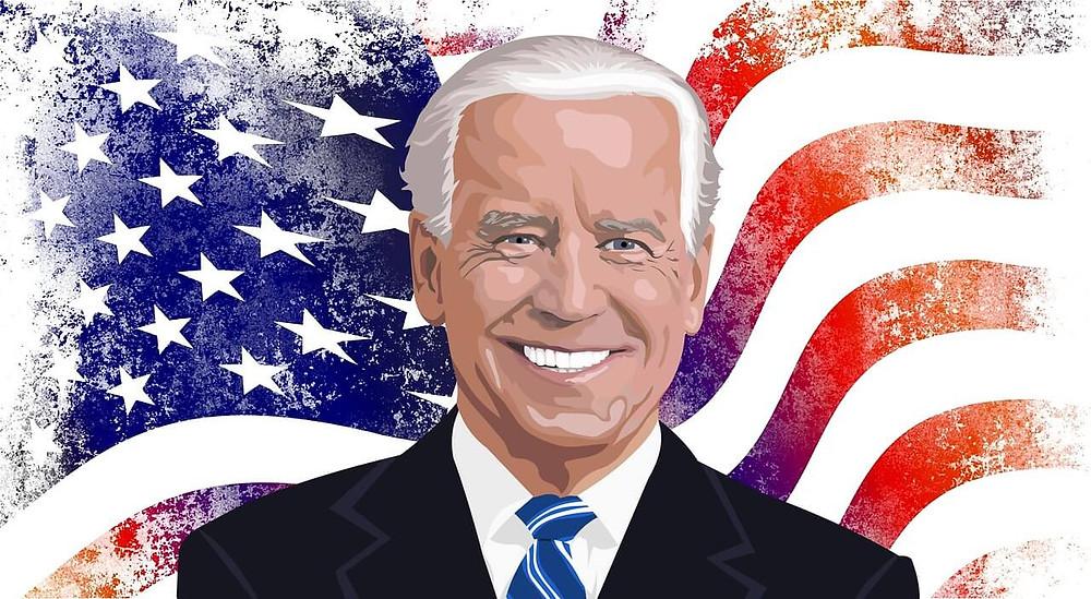 Biden dengan latar belakang bendera Amerika Serikat