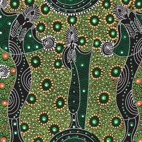 FABRIC  Dancing Spirit Green  (1 x 2 metres)