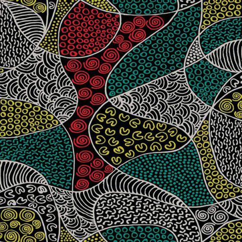 FABRIC  Bush Coconut Dreaming Red  (1 x 2 metres)