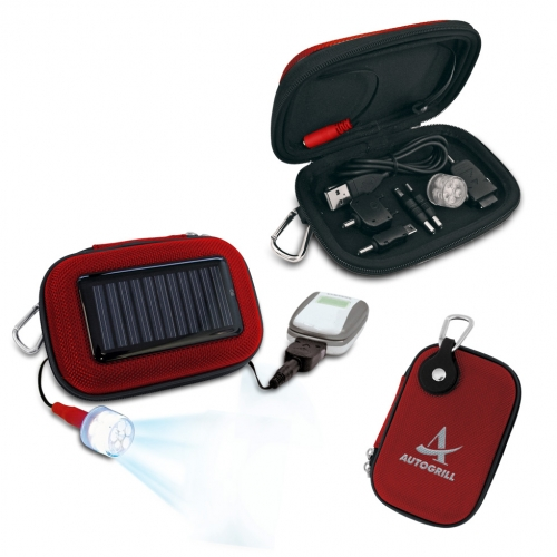 Solar charger kit with light