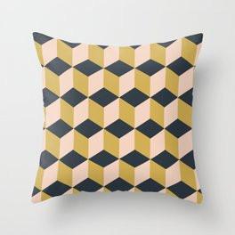 Making Marks Cube Illusion Dark Throw Pillow